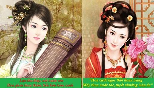 """So sánh tài sắc của Thúy Vân và Thúy Kiều hiện trong đoạn thơ """"Chị em Thuý Kiều"""""""